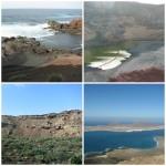 Hervideros, El Golfo, krater wulkanu La Corona i widok na wyspę La Graciosa
